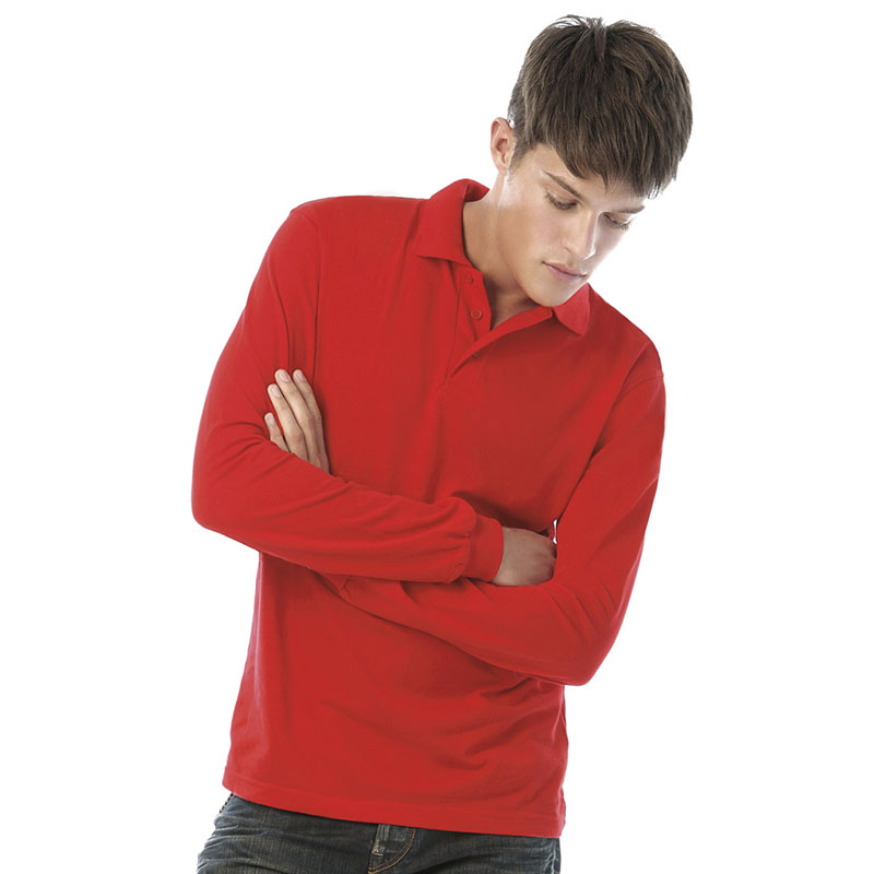 B&C Safran Long Sleeve Cotton Pique Polo Shirt
