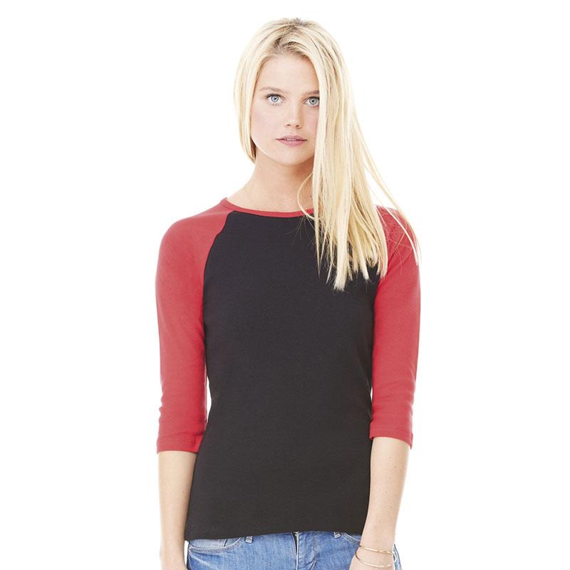 Bella Baby Rib 3/4 Sleeve Contrast T- Shirt