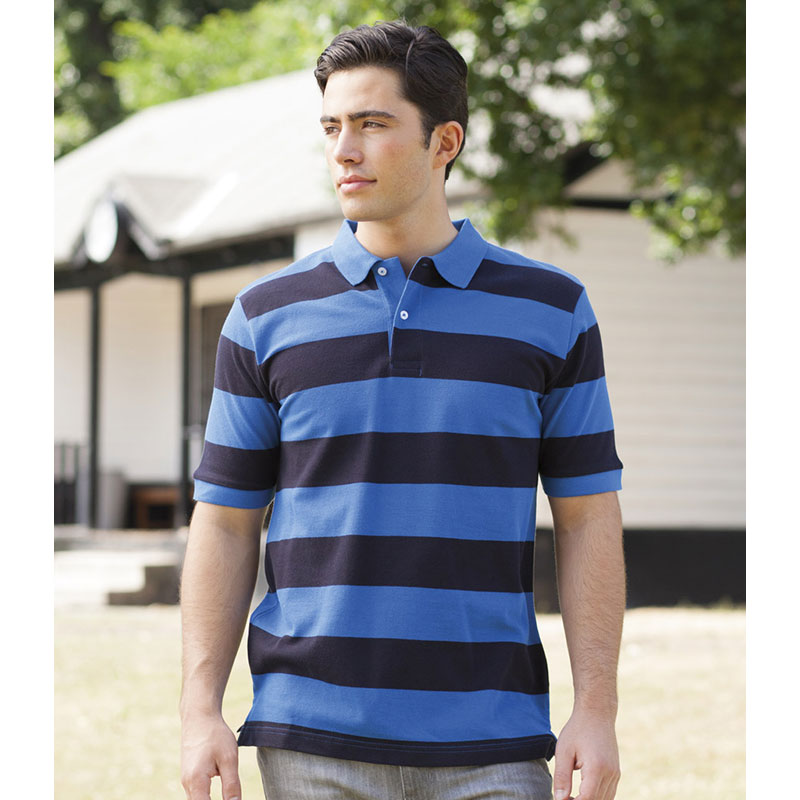 Front Row Striped Cotton Pique Polo Shirt