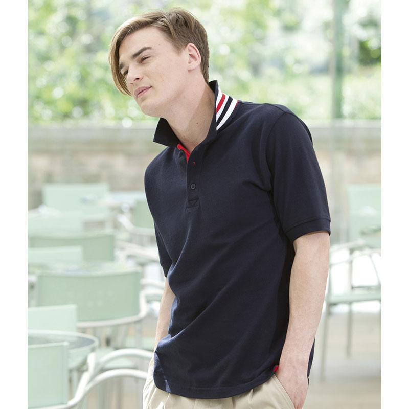 Henbury Striped Collar Cotton Pique Polo Shirt
