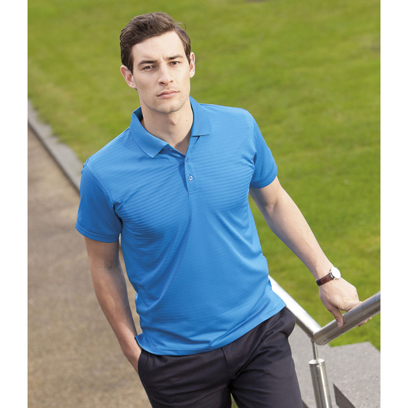 Henbury Cooltouch® Textured Stripe Polo Shirt