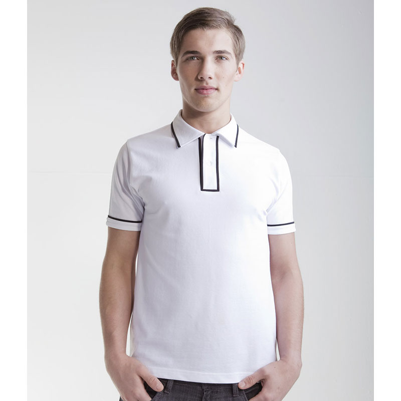 SFMen Contrast Piped Cotton Polo Shirt
