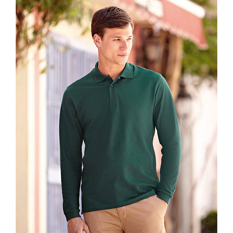 Fruit of the Loom Long Sleeve Premium Cotton Polo Shirt