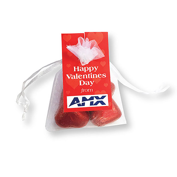 Organza Bag With Milk Chocolate Hearts