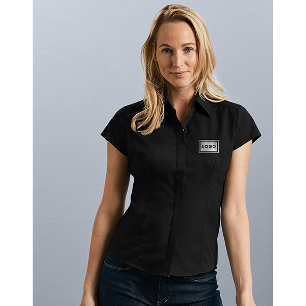 Russell Collection Ladies Short Sleeve Poplin