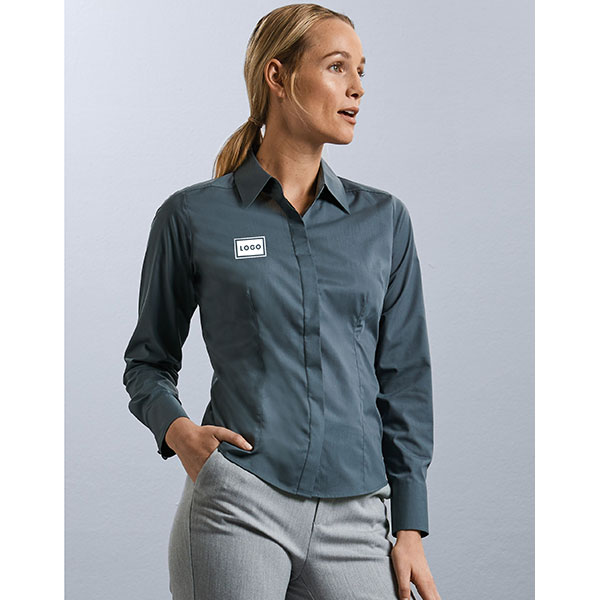 Russell Collection Ladies Long Sleeve Poplin