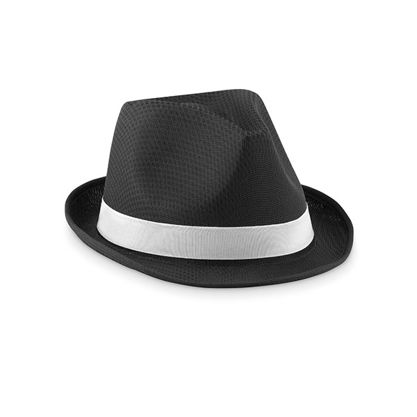 Straw Hat with Printed Ribbon - White Band