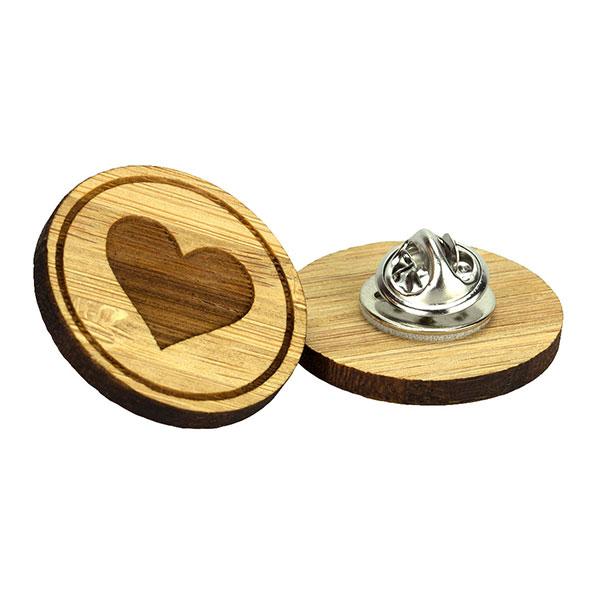 Moso Bamboo Clutch Pin Badge