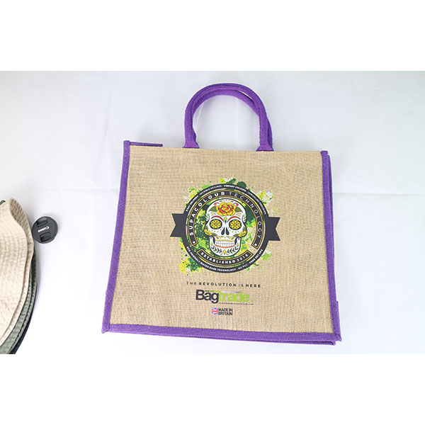 Large Natural Bag with Dyed Gusset - Full Colour