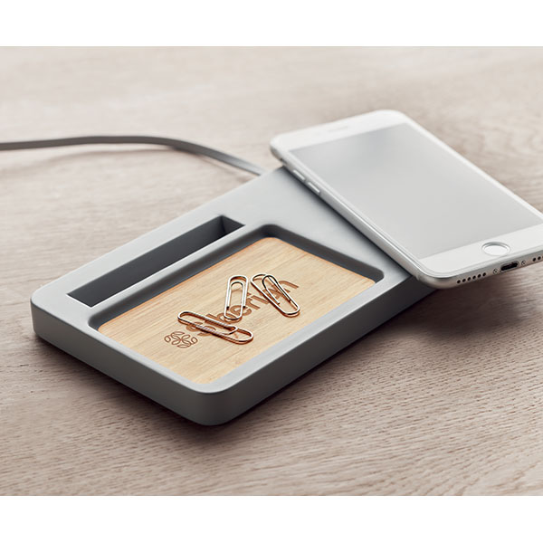 Limestone Cement & Bamboo Wireless Charger